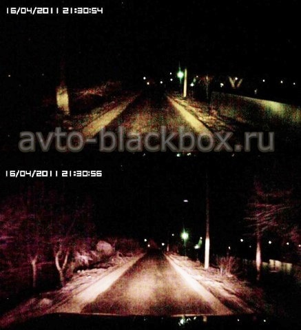 ночная съемка видеорегистратором Каркам Q2