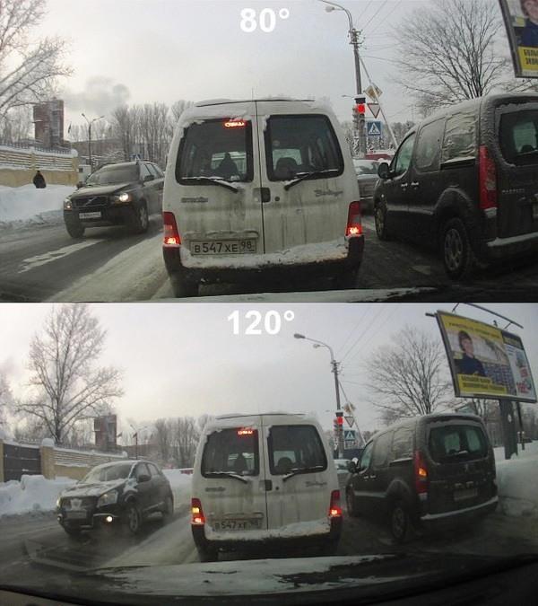 При большем угле обзора видеорегистратора на видеозаписи видна соответственно большая часть дороги