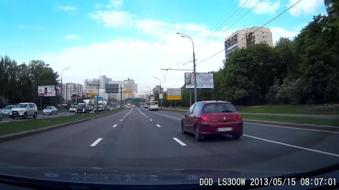 Скриншот с дневной видеозаписи автомобильным регистратором DOD LS300W в  формате FULL HD (1920х1080 пикселей)