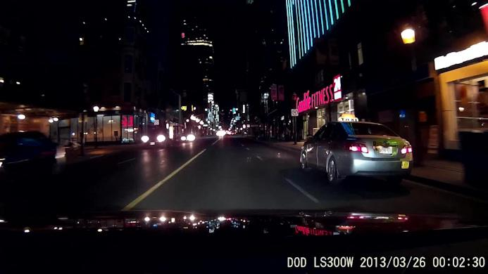 Скриншот с ночной видеозаписи автомобильным регистратором DOD LS300W