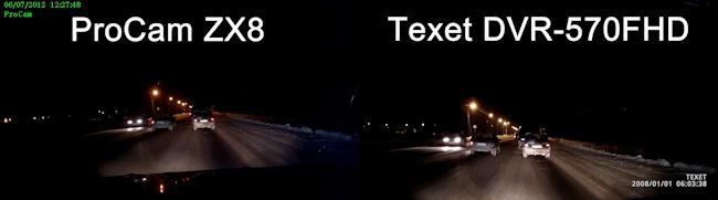 Примеры ночной съемки автомобильными видеорегистраторами ProCam ZX8 и Texet DVR-570FHD
