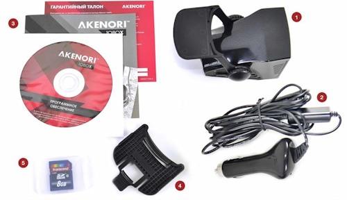 Комплектация автомобильного регистратора Akenori 1080 X